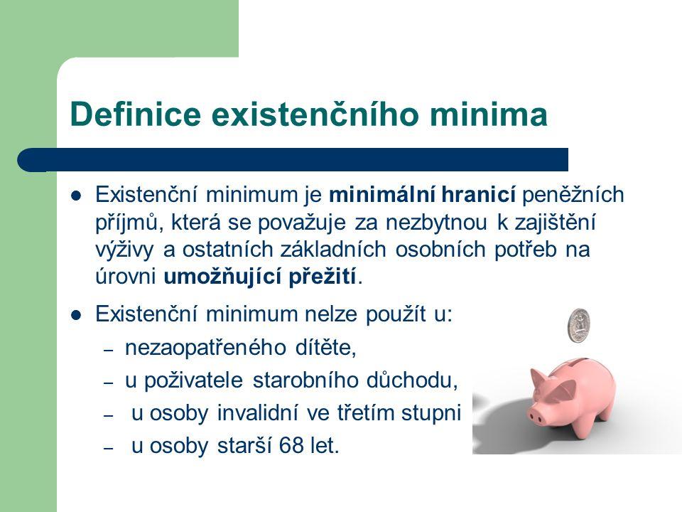 Definice existenčního minima Existenční minimum je minimální hranicí peněžních příjmů, která se považuje za nezbytnou k zajištění výživy a ostatních základních osobních potřeb na úrovni umožňující přežití.