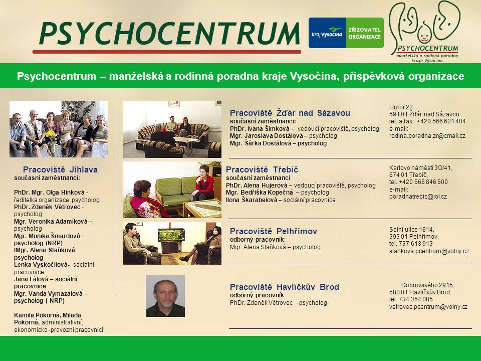 Psychocentrum – manželská a rodinná poradna kraje Vysočina, příspěvková organizace Pracoviště Jihlava současní zaměstnanci: PhDr.