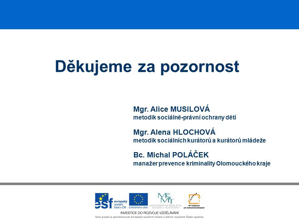 Děkujeme za pozornost Mgr. Alice MUSILOVÁ metodik sociálně-právní ochrany dětí Mgr.