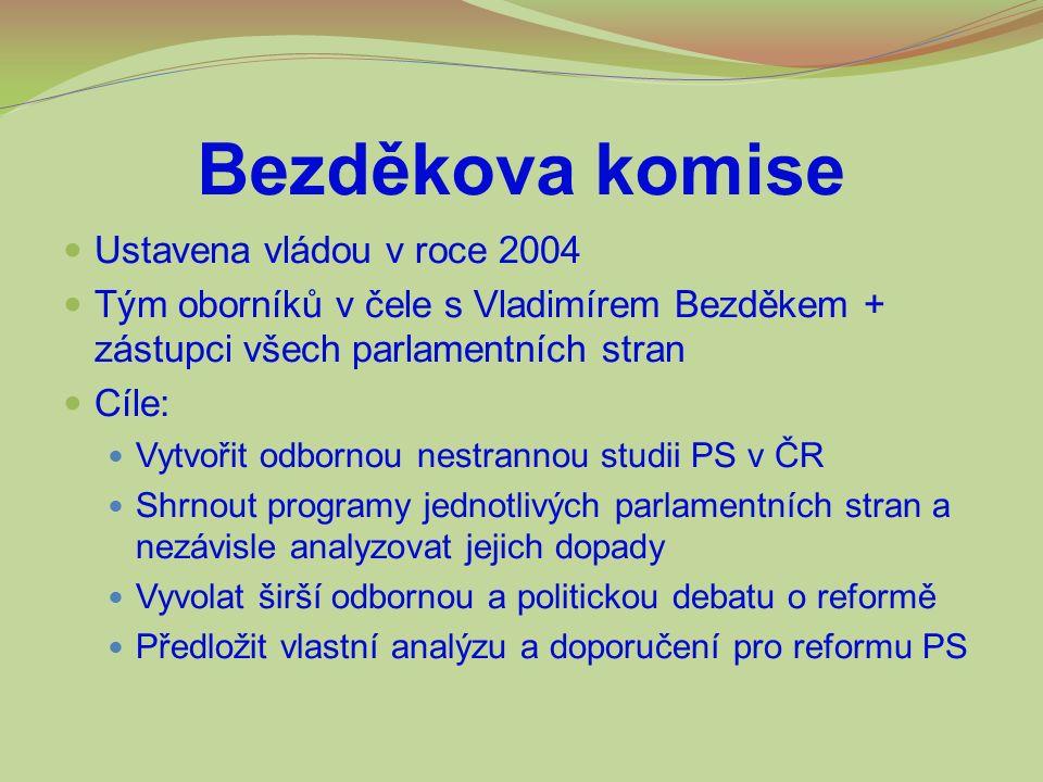 Bezděkova komise Ustavena vládou v roce 2004 Tým oborníků v čele s Vladimírem Bezděkem + zástupci všech parlamentních stran Cíle: Vytvořit odbornou ne
