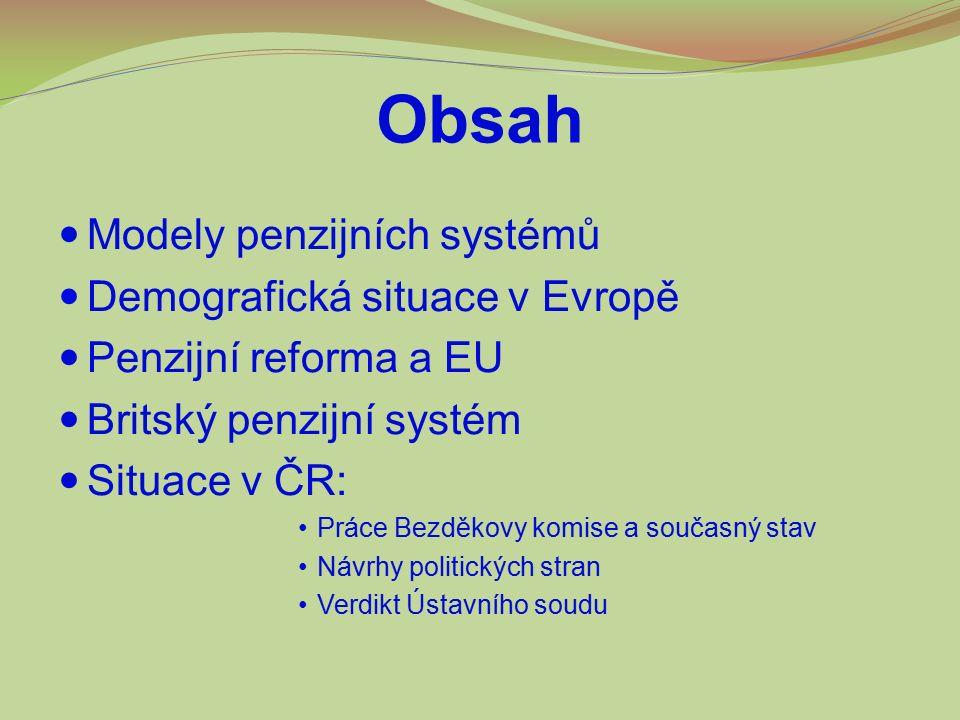 Obsah Modely penzijních systémů Demografická situace v Evropě Penzijní reforma a EU Britský penzijní systém Situace v ČR: Práce Bezděkovy komise a sou