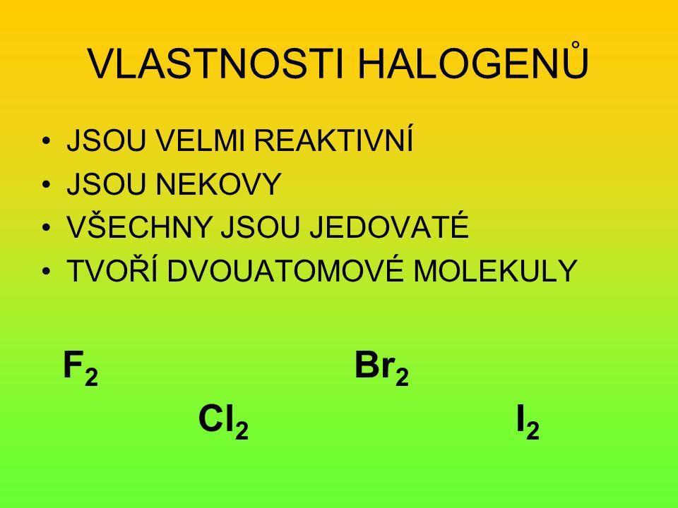 FLUOR jedovatý, štiplavý nazelenalý plyn extrémně reaktivní Použití: oxidační činidlo teflon – ochranná vrstva freony – omezení používání