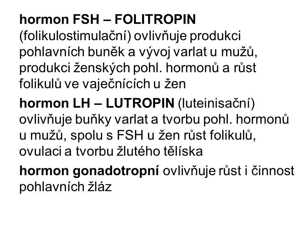 hormon FSH – FOLITROPIN (folikulostimulační) ovlivňuje produkci pohlavních buněk a vývoj varlat u mužů, produkci ženských pohl.