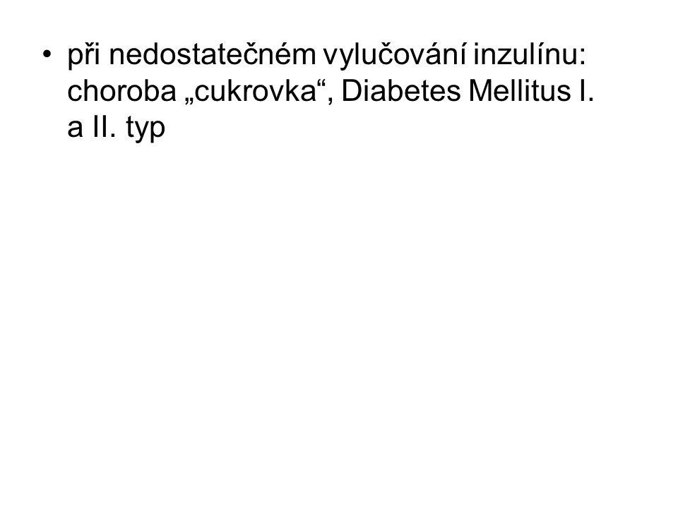 """při nedostatečném vylučování inzulínu: choroba """"cukrovka , Diabetes Mellitus I. a II. typ"""