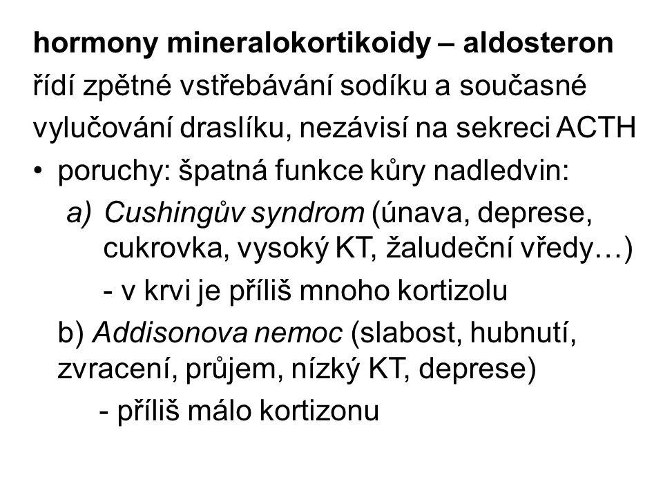 hormony mineralokortikoidy – aldosteron řídí zpětné vstřebávání sodíku a současné vylučování draslíku, nezávisí na sekreci ACTH poruchy: špatná funkce kůry nadledvin: a)Cushingův syndrom (únava, deprese, cukrovka, vysoký KT, žaludeční vředy…) - v krvi je příliš mnoho kortizolu b) Addisonova nemoc (slabost, hubnutí, zvracení, průjem, nízký KT, deprese) - příliš málo kortizonu
