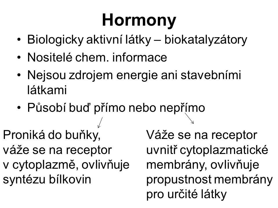 Hormony Biologicky aktivní látky – biokatalyzátory Nositelé chem.