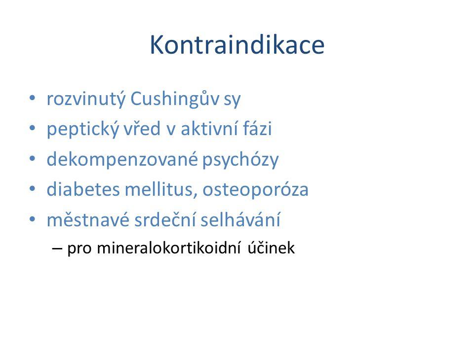 Inhibice syntézy glukokortikoidů Nejsou již registrovány - toxicita metyrapon – Blokáda 11-hydroxylace Kumulace prekursorů s mineralokortikoidní a androgenní aktivitou – Nežádoucí účinky Retence sodíku a vody, hirsuntismus, GIT Trilostan, ketokonazol, aminoglutetimid
