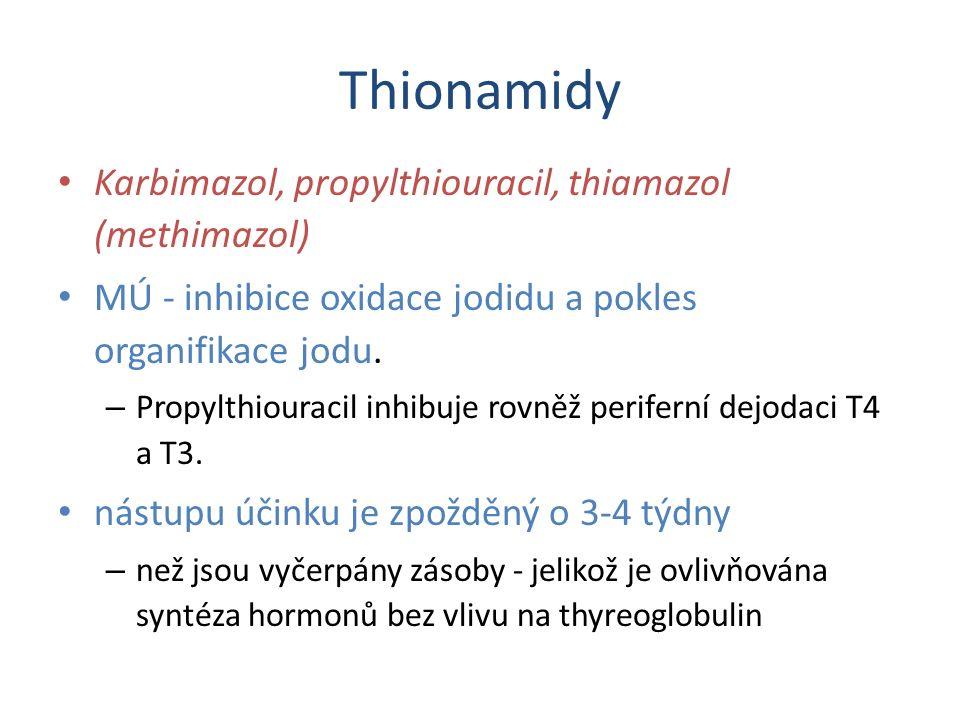 Thionamidy - farmakokinetika Propylthiouracil a thiamazol jsou rychle absorbovány v nezměněné formě – karbimazol je přeměňován na aktivní thiamazol, T 1/2 - 5-6 hodin nutno podávat 2-4x denně.