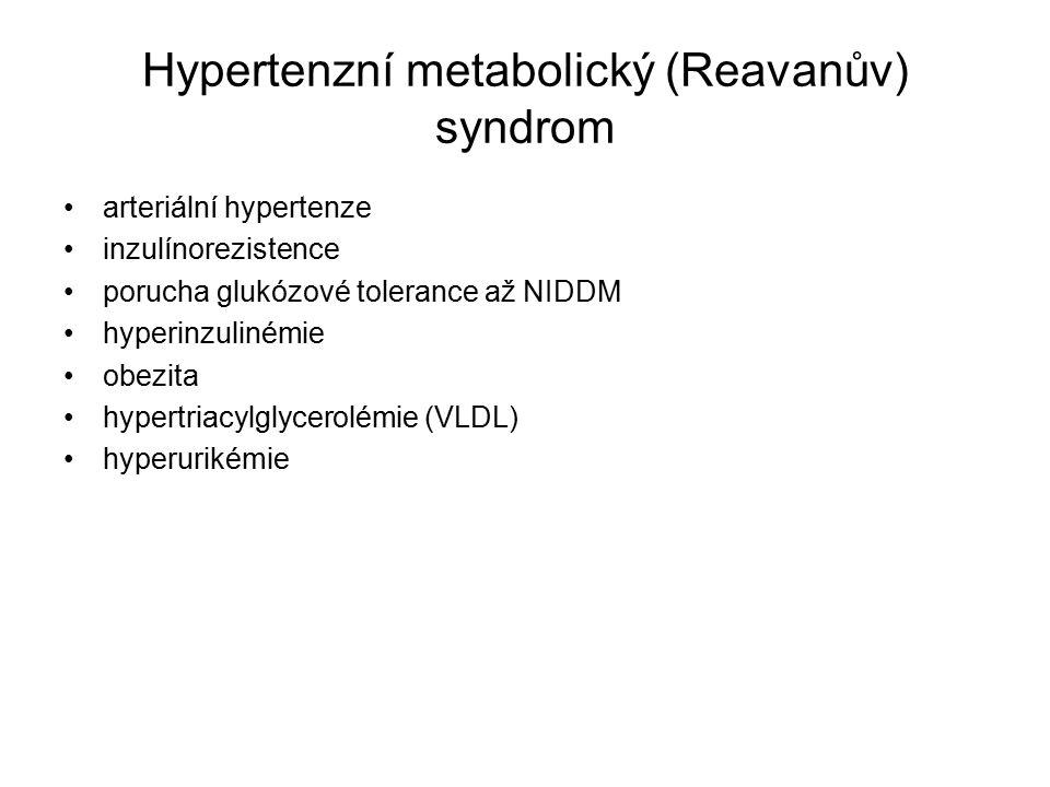 Hypertenzní metabolický (Reavanův) syndrom arteriální hypertenze inzulínorezistence porucha glukózové tolerance až NIDDM hyperinzulinémie obezita hypertriacylglycerolémie (VLDL) hyperurikémie