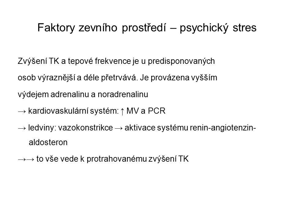 Faktory zevního prostředí – psychický stres Zvýšení TK a tepové frekvence je u predisponovaných osob výraznější a déle přetrvává.