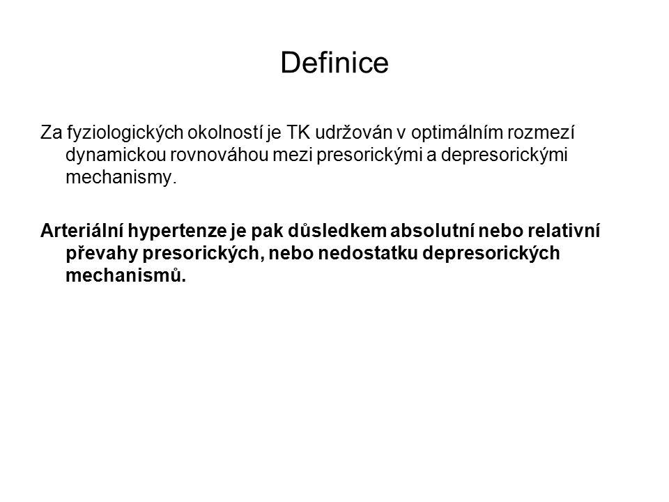 Definice Za fyziologických okolností je TK udržován v optimálním rozmezí dynamickou rovnováhou mezi presorickými a depresorickými mechanismy.