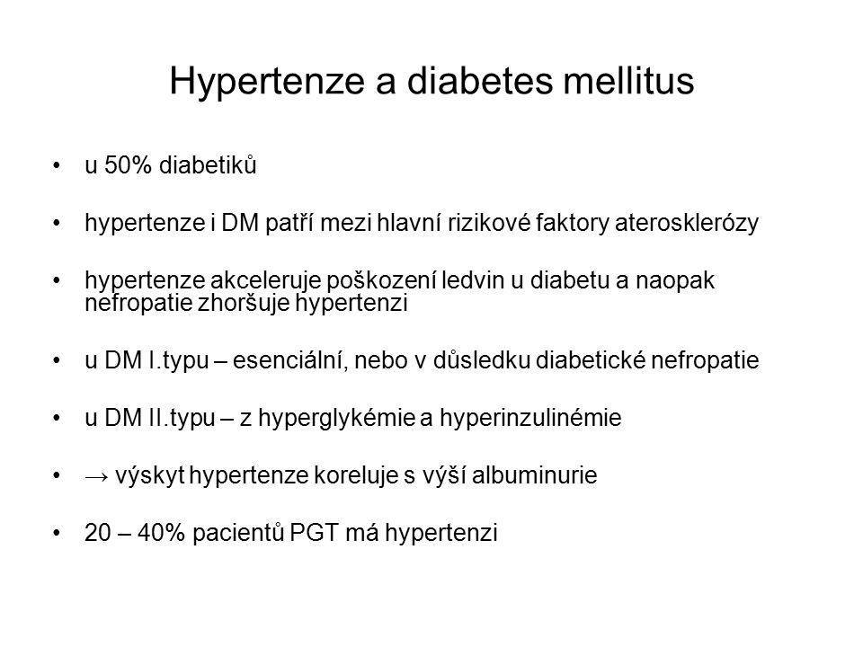 Hypertenze a diabetes mellitus u 50% diabetiků hypertenze i DM patří mezi hlavní rizikové faktory aterosklerózy hypertenze akceleruje poškození ledvin u diabetu a naopak nefropatie zhoršuje hypertenzi u DM I.typu – esenciální, nebo v důsledku diabetické nefropatie u DM II.typu – z hyperglykémie a hyperinzulinémie → výskyt hypertenze koreluje s výší albuminurie 20 – 40% pacientů PGT má hypertenzi