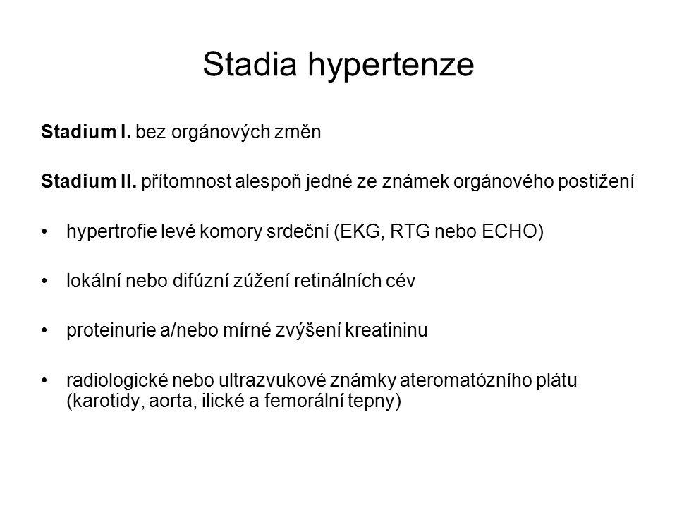 Stadia hypertenze Stadium I. bez orgánových změn Stadium II.