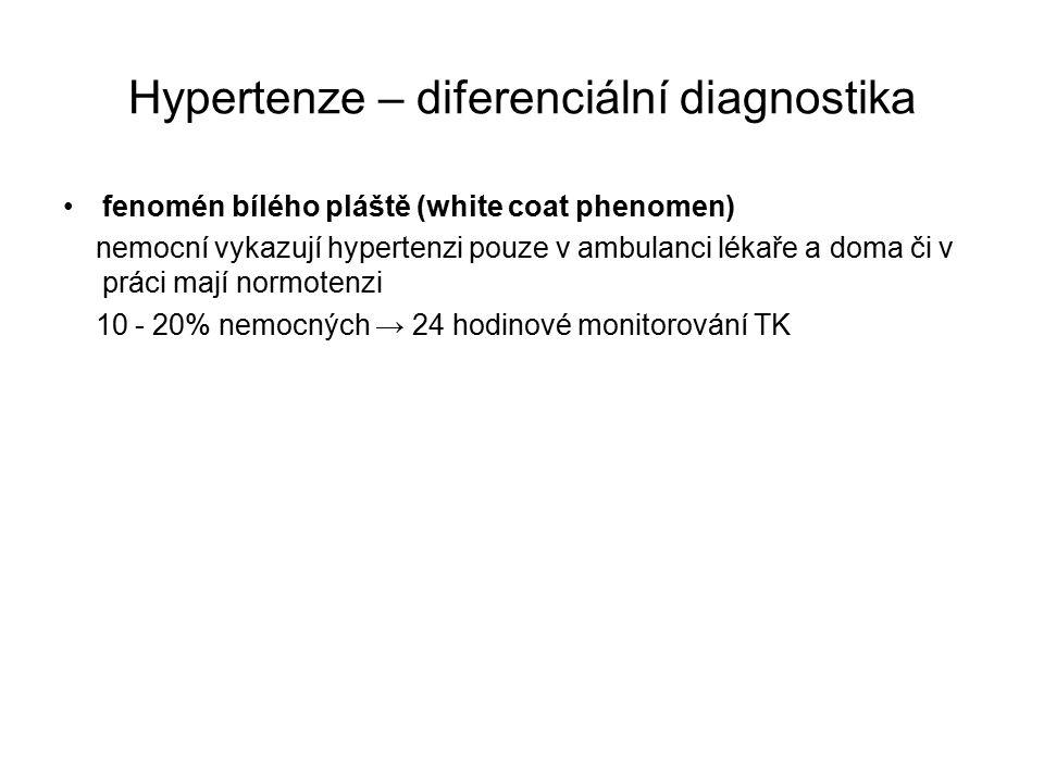 Hypertenze – diferenciální diagnostika fenomén bílého pláště (white coat phenomen) nemocní vykazují hypertenzi pouze v ambulanci lékaře a doma či v práci mají normotenzi 10 - 20% nemocných → 24 hodinové monitorování TK