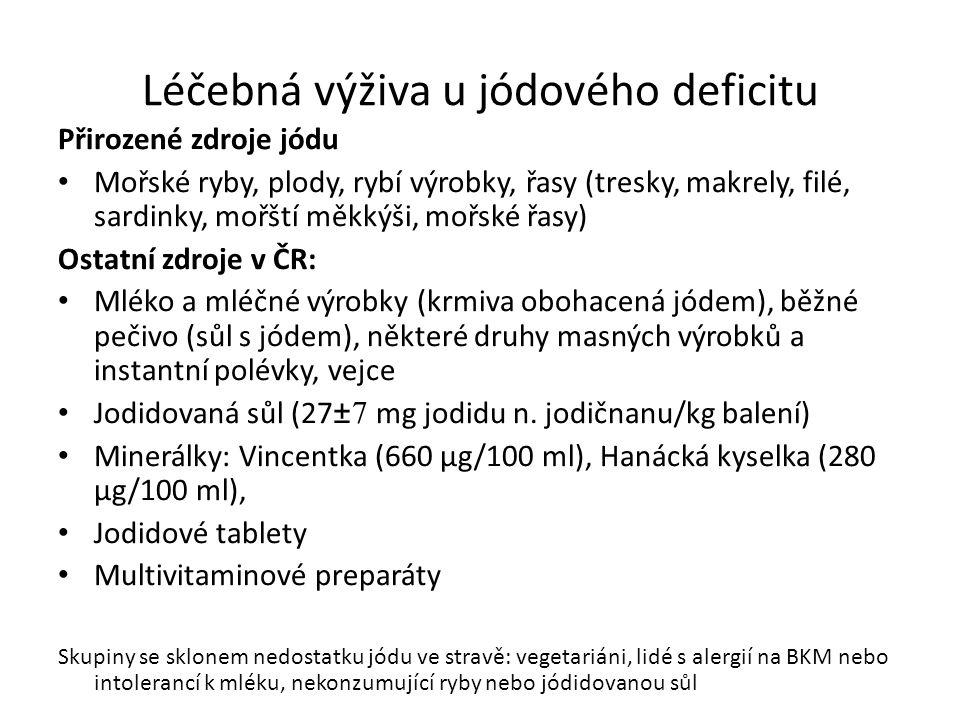 Léčebná výživa u jódového deficitu Přirozené zdroje jódu Mořské ryby, plody, rybí výrobky, řasy (tresky, makrely, filé, sardinky, mořští měkkýši, mořské řasy) Ostatní zdroje v ČR: Mléko a mléčné výrobky (krmiva obohacená jódem), běžné pečivo (sůl s jódem), některé druhy masných výrobků a instantní polévky, vejce Jodidovaná sůl (27 ±7 mg jodidu n.