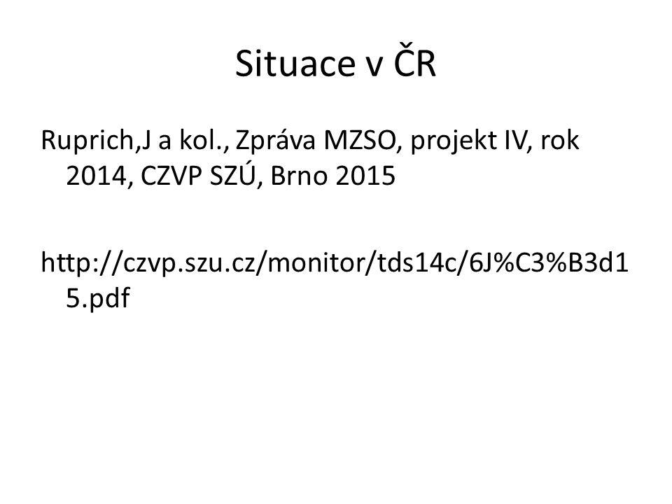 Situace v ČR Ruprich,J a kol., Zpráva MZSO, projekt IV, rok 2014, CZVP SZÚ, Brno 2015 http://czvp.szu.cz/monitor/tds14c/6J%C3%B3d1 5.pdf