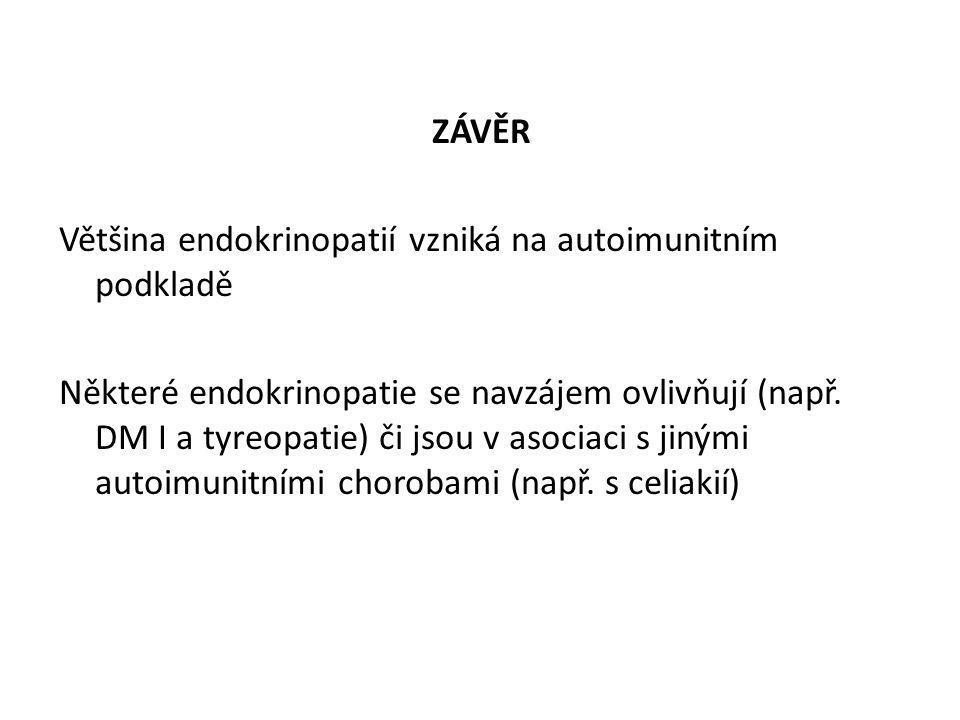 ZÁVĚR Většina endokrinopatií vzniká na autoimunitním podkladě Některé endokrinopatie se navzájem ovlivňují (např.