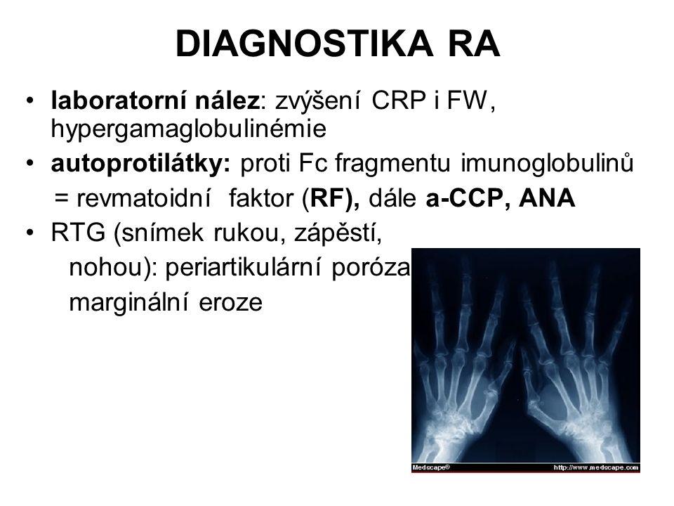 DIAGNOSTIKA RA laboratorní nález: zvýšení CRP i FW, hypergamaglobulinémie autoprotilátky: proti Fc fragmentu imunoglobulinů = revmatoidní faktor (RF),