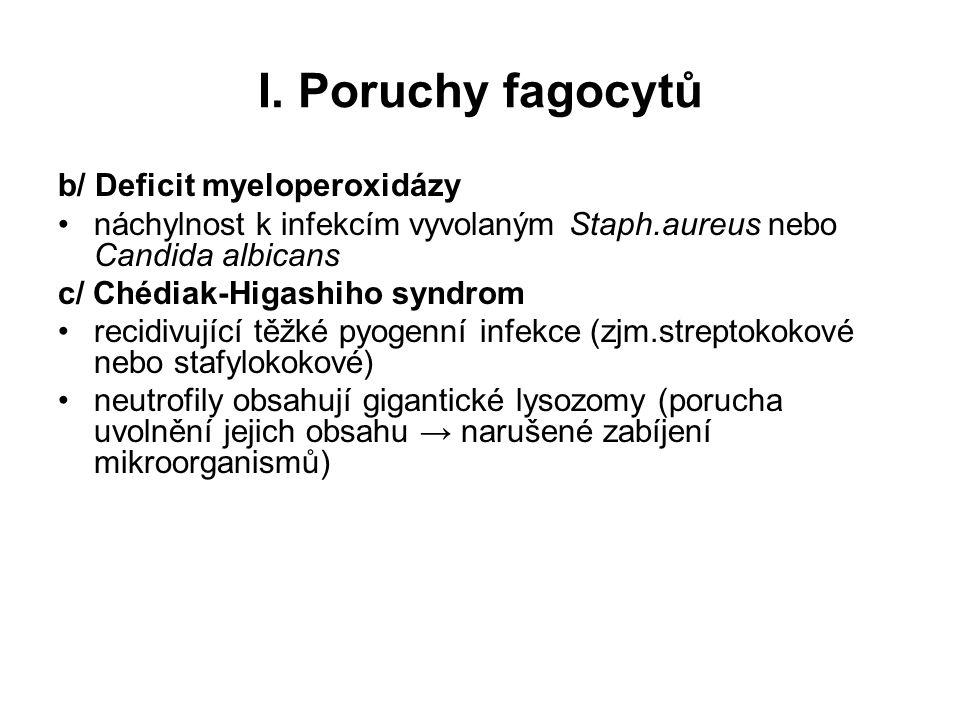 I. Poruchy fagocytů b/ Deficit myeloperoxidázy náchylnost k infekcím vyvolaným Staph.aureus nebo Candida albicans c/ Chédiak-Higashiho syndrom recidiv