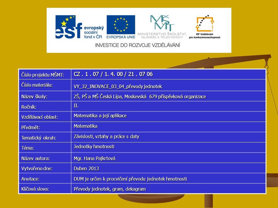 Číslo projektu MŠMT: CZ. 1. 07 / 1. 4. 00 / 21. 07 06 Číslo materiálu: VY_32_INOVACE_03_04_převody jednotek Název školy: ZŠ, PŠ a MŠ Česká Lípa, Moske