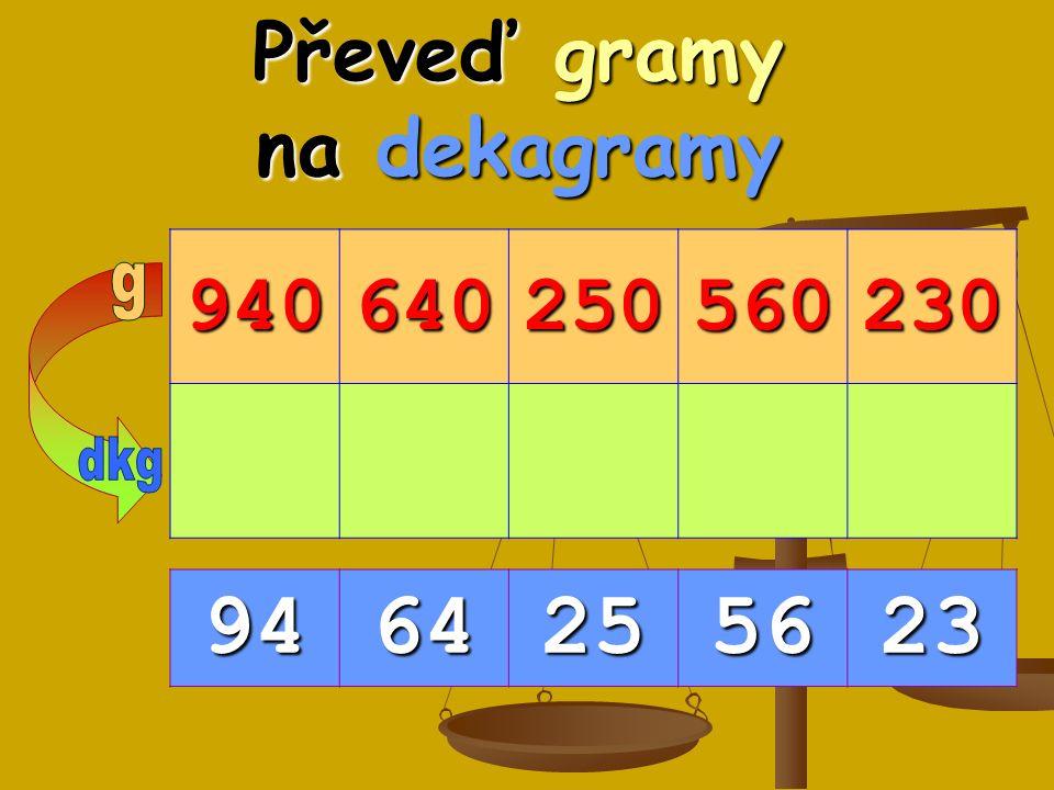 Převeď gramy na dekagramy 940640250560230 9464255623
