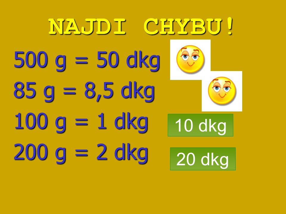 NAJDI CHYBU! 500 g = 50 dkg 85 g = 8,5 dkg 100 g = 1 dkg 200 g = 2 dkg 10 dkg 20 dkg