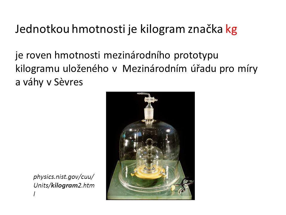 Jednotkou hmotnosti je kilogram značka kg je roven hmotnosti mezinárodního prototypu kilogramu uloženého v Mezinárodním úřadu pro míry a váhy v Sèvres physics.nist.gov/cuu/ Units/kilogram2.htm l