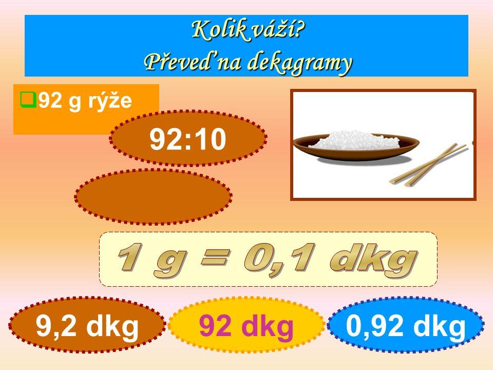 Kolik váží Převeď na dekagramy  92 g rýže 9,2 dkg92 dkg0,92 dkg 92:10