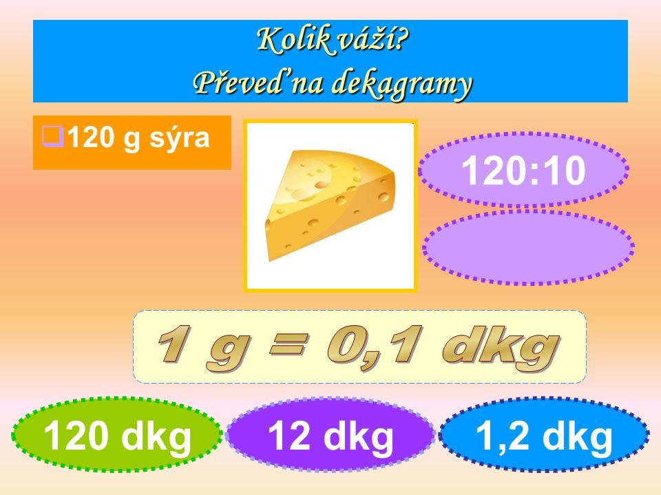 Kolik váží Převeď na dekagramy  120 g sýra 120 dkg12 dkg1,2 dkg 120:10