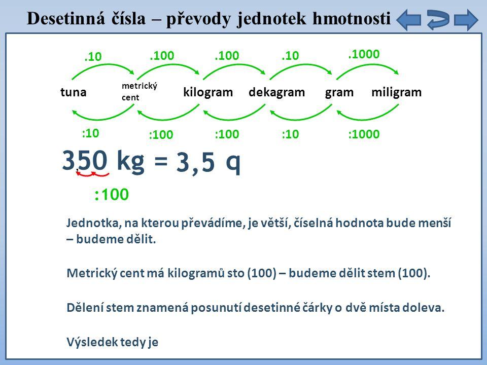 tunadekagramgrammiligram.10 :10 metrický cent kilogram.100 :100.100 :100.10 :10.1000 :1000 350 kg = q 3,5 Jednotka, na kterou převádíme, je větší, číselná hodnota bude menší – budeme dělit.
