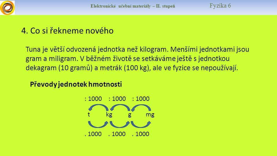 Elektronické učební materiály – II. stupeň Fyzika 6 4. Co si řekneme nového Tuna je větší odvozená jednotka než kilogram. Menšími jednotkami jsou gram