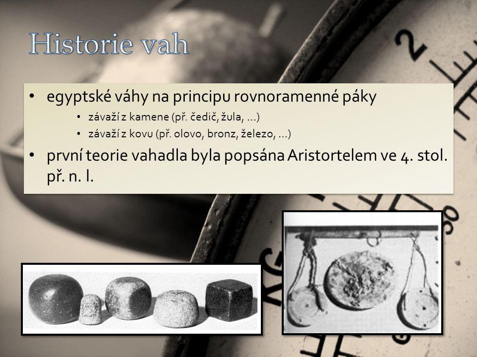 egyptské váhy na principu rovnoramenné páky závaží z kamene (př.