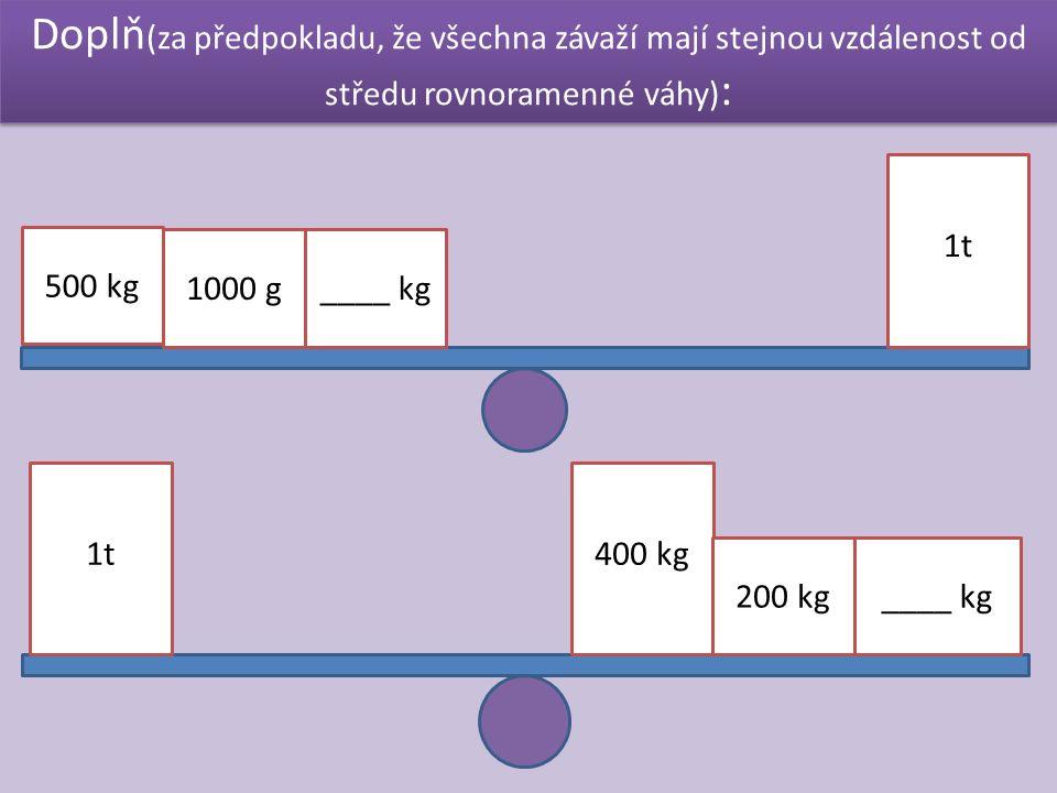 Doplň (za předpokladu, že všechna závaží mají stejnou vzdálenost od středu rovnoramenné váhy) : 500 kg 1000 g 1t ____ kg 1t400 kg 200 kg____ kg