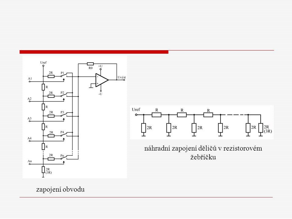 zapojení obvodu náhradní zapojení děličů v rezistorovém žebříčku