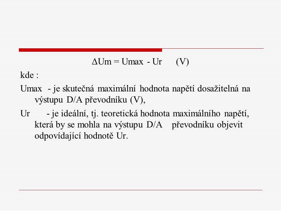 ΔUm = Umax - Ur(V) kde : Umax - je skutečná maximální hodnota napětí dosažitelná na výstupu D/A převodníku (V), Ur - je ideální, tj.
