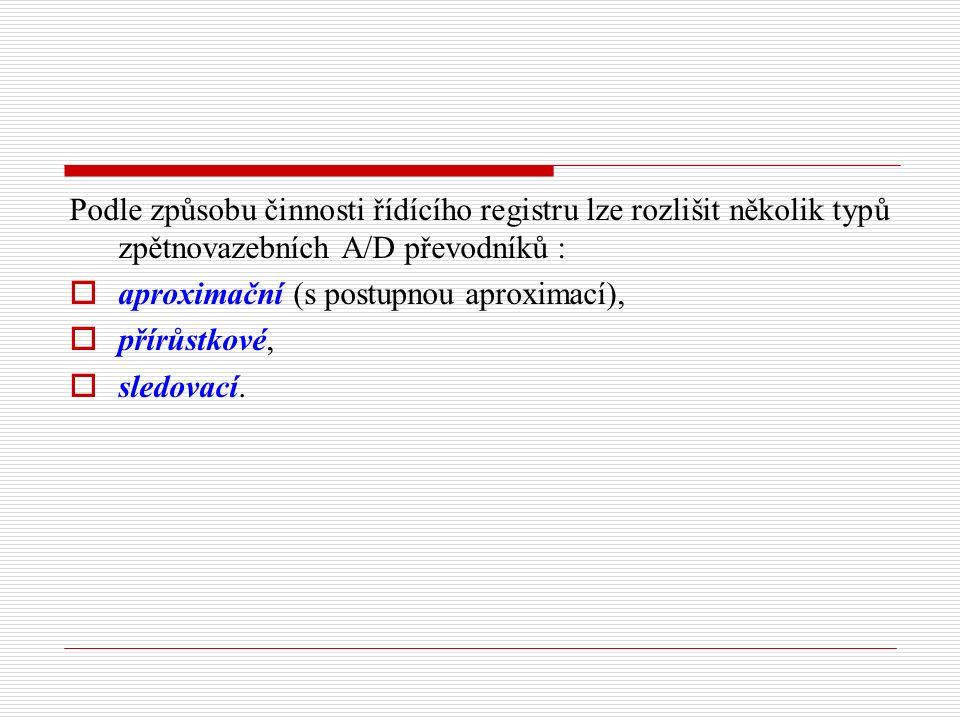 Podle způsobu činnosti řídícího registru lze rozlišit několik typů zpětnovazebních A/D převodníků :  aproximační (s postupnou aproximací),  přírůstkové,  sledovací.