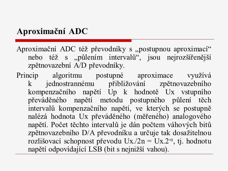 """Aproximační ADC Aproximační ADC též převodníky s """"postupnou aproximací nebo též s """"půlením intervalů , jsou nejrozšířenější zpětnovazební A/D převodníky."""
