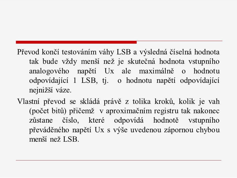 Převod končí testováním váhy LSB a výsledná číselná hodnota tak bude vždy menší než je skutečná hodnota vstupního analogového napětí Ux ale maximálně o hodnotu odpovídající 1 LSB, tj.
