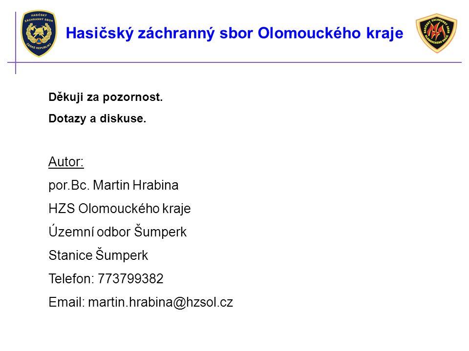 Děkuji za pozornost. Dotazy a diskuse. Autor: por.Bc. Martin Hrabina HZS Olomouckého kraje Územní odbor Šumperk Stanice Šumperk Telefon: 773799382 Ema