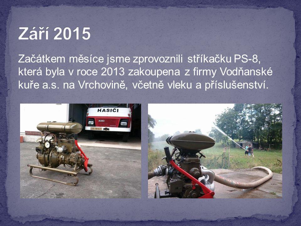 Začátkem měsíce jsme zprovoznili stříkačku PS-8, která byla v roce 2013 zakoupena z firmy Vodňanské kuře a.s.