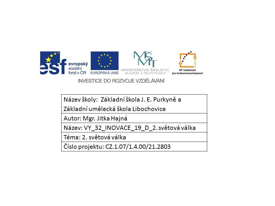 Název školy: Základní škola J. E. Purkyně a Základní umělecká škola Libochovice Autor: Mgr.