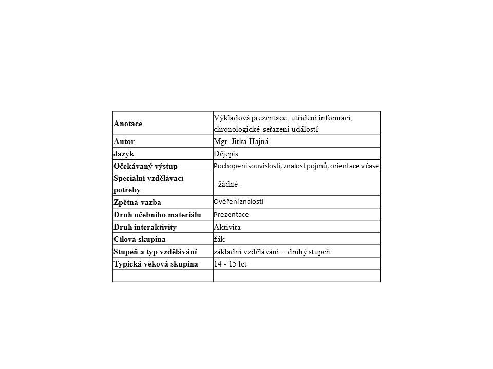 Anotace Výkladová prezentace, utřídění informací, chronologické seřazení událostí AutorMgr.