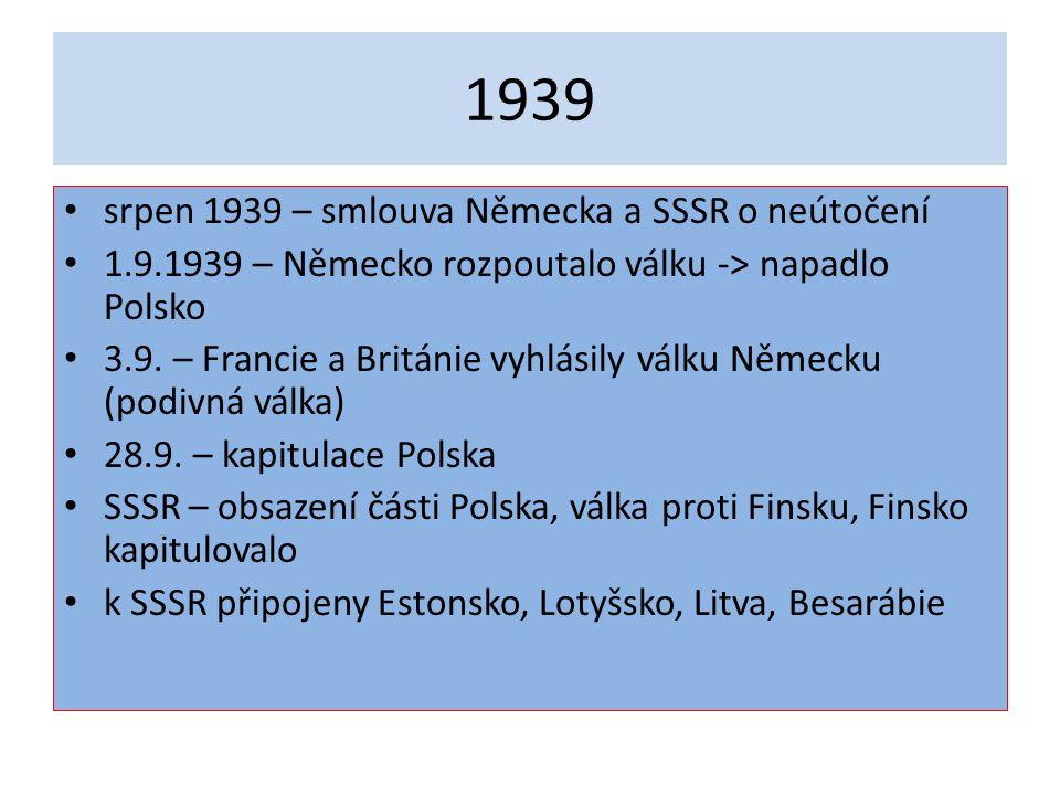 1939 srpen 1939 – smlouva Německa a SSSR o neútočení 1.9.1939 – Německo rozpoutalo válku -> napadlo Polsko 3.9.