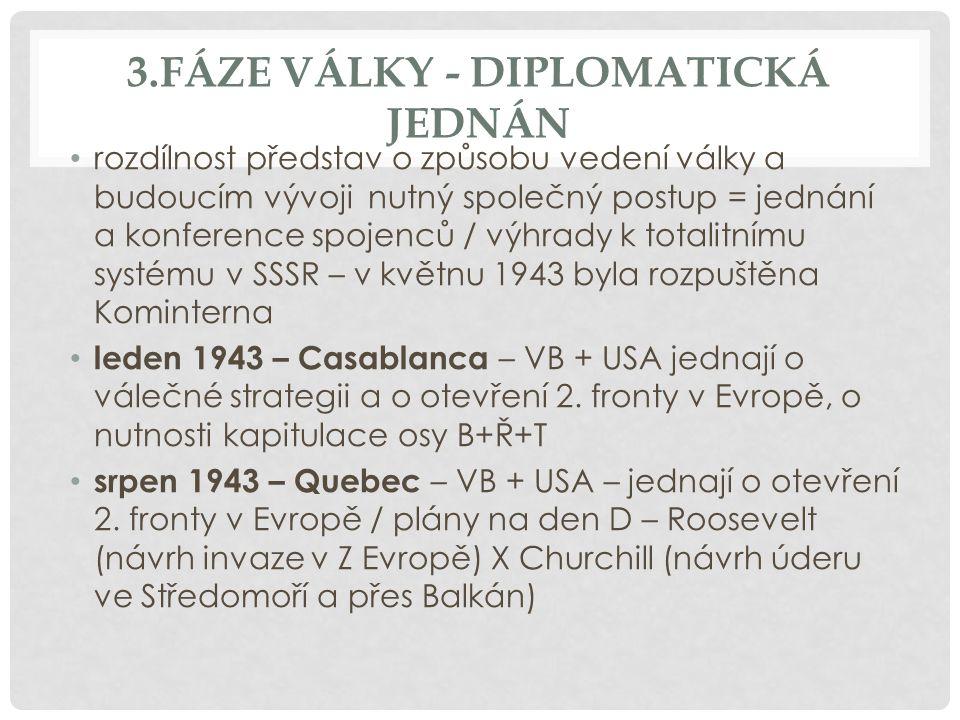 3.FÁZE VÁLKY - DIPLOMATICKÁ JEDNÁN rozdílnost představ o způsobu vedení války a budoucím vývoji nutný společný postup = jednání a konference spojenců