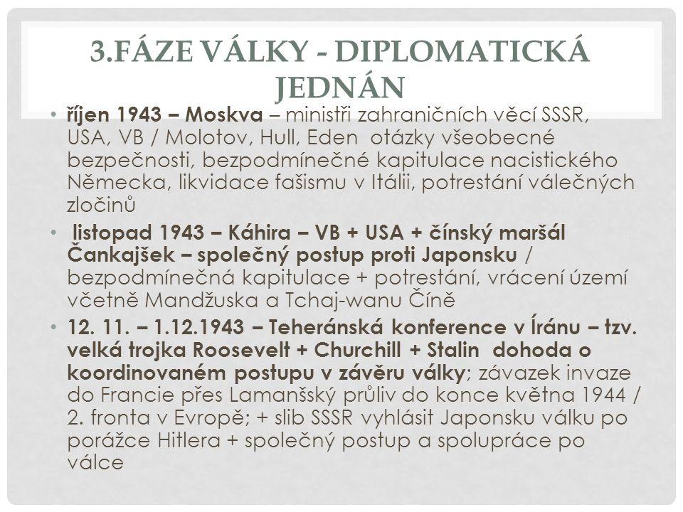 3.FÁZE VÁLKY - DIPLOMATICKÁ JEDNÁN říjen 1943 – Moskva – ministři zahraničních věcí SSSR, USA, VB / Molotov, Hull, Eden otázky všeobecné bezpečnosti, bezpodmínečné kapitulace nacistického Německa, likvidace fašismu v Itálii, potrestání válečných zločinů listopad 1943 – Káhira – VB + USA + čínský maršál Čankajšek – společný postup proti Japonsku / bezpodmínečná kapitulace + potrestání, vrácení území včetně Mandžuska a Tchaj-wanu Číně 12.
