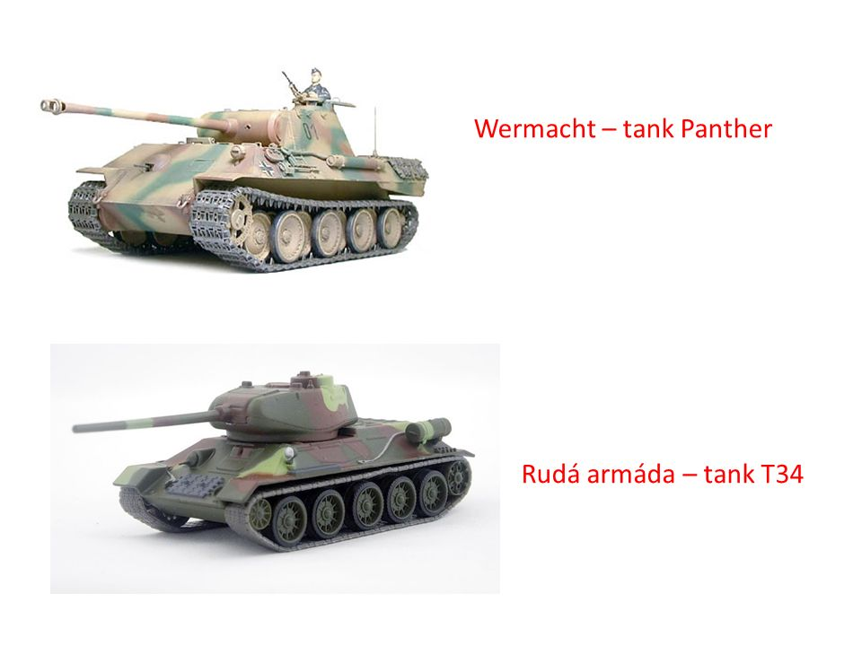 Wermacht – tank Panther Rudá armáda – tank T34