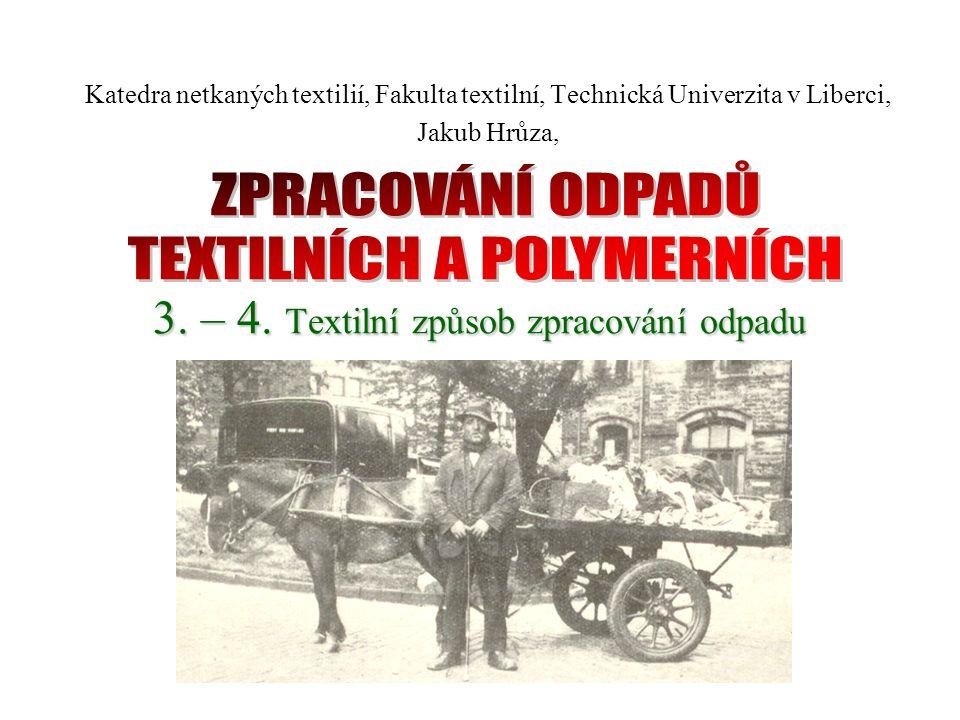 Základní schéma textilního zpracování odpadů Příprava vlákenné suroviny Výroba přízí Výroba netkaných textilií Příprava vláken