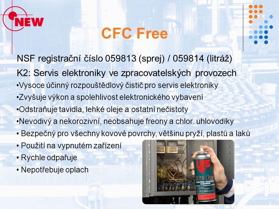 CFC Free NSF registrační číslo 059813 (sprej) / 059814 (litráž) K2: Servis elektroniky ve zpracovatelských provozech Vysoce účinný rozpouštědlový čistič pro servis elektroniky Zvyšuje výkon a spolehlivost elektronického vybavení Odstraňuje tavidla, lehké oleje a ostatní nečistoty Nevodivý a nekorozivní, neobsahuje freony a chlor.