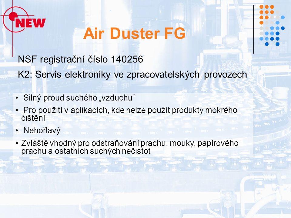 """Air Duster FG NSF registrační číslo 140256 K2: Servis elektroniky ve zpracovatelských provozech Silný proud suchého """"vzduchu Pro použití v aplikacích, kde nelze použít produkty mokrého čištění Nehořlavý Zvláště vhodný pro odstraňování prachu, mouky, papírového prachu a ostatních suchých nečistot"""