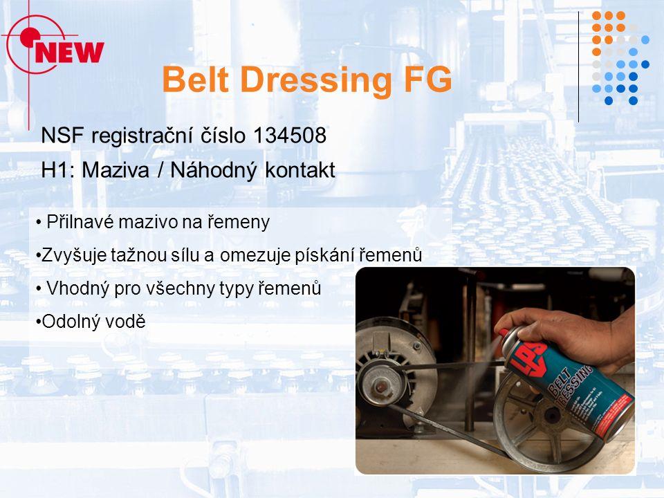Belt Dressing FG NSF registrační číslo 134508 H1: Maziva / Náhodný kontakt Přilnavé mazivo na řemeny Zvyšuje tažnou sílu a omezuje pískání řemenů Vhodný pro všechny typy řemenů Odolný vodě